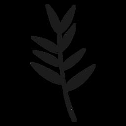 Hojas delgadas en la silueta del tallo