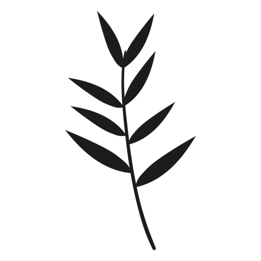 Thin leaves on stem silhouette Transparent PNG