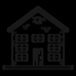 Casa de tres pisos con icono de línea de ático.
