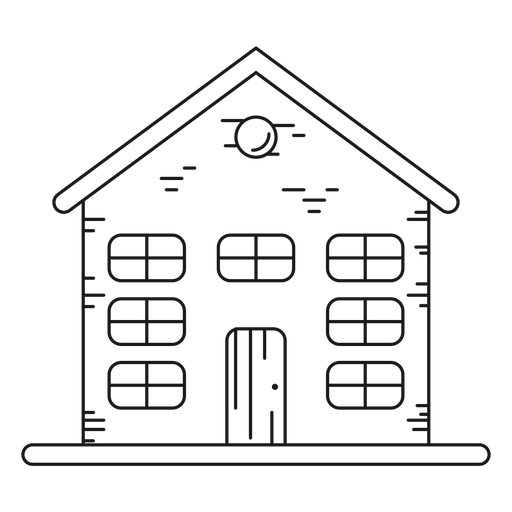 Three storey house with attic line icon Transparent PNG