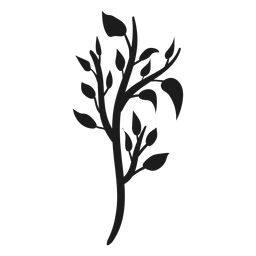 Tree trunk with branches and leaves silhouette