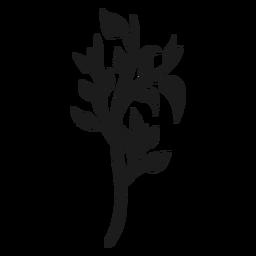 Tronco de árvore com ramos e folhas silhueta