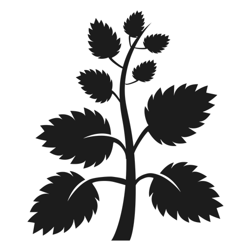 Tree trunk with fan leaves silhouette Transparent PNG