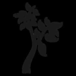 Icono de árbol con ramas y hojas grandes.