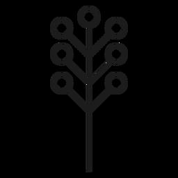 Árbol con silueta de hojas circulares.