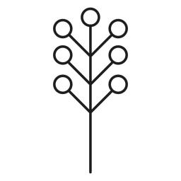 Tree with circular leaves silhouette