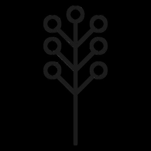 Árbol con silueta de hojas circulares. Transparent PNG