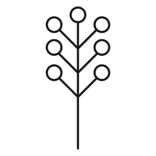 Tree with circular leaves silhouette Transparent PNG