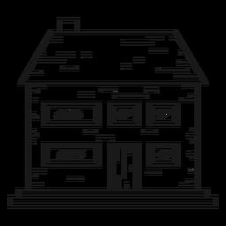 Icono de línea de casa de ladrillo de dos pisos