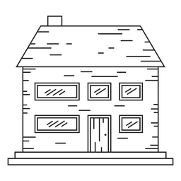 Two storey brick house line icon