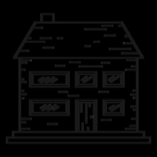 Ícone de linha de casa de tijolos de dois andares