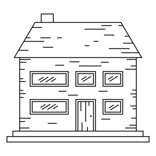 Two storey brick house line icon Transparent PNG