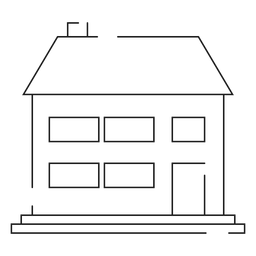 Two storey house line icon