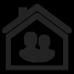 Zwei Personen in einem Heimsymbol
