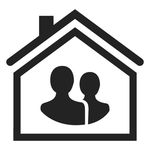 Two person in a home icon Transparent PNG