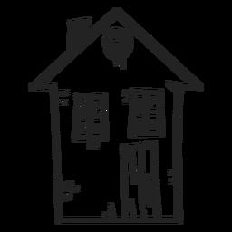 Icono de dibujo de casa de dos pisos