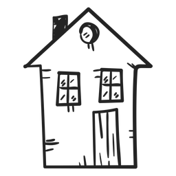 Two storey house drawing icon