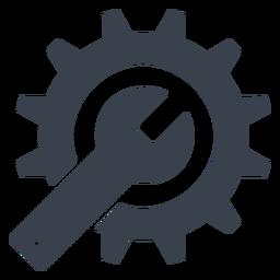 Icono de llave inglesa y engranaje