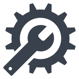 Icono de llave y engranaje