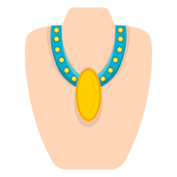 Yellow pendant thick necklace vector