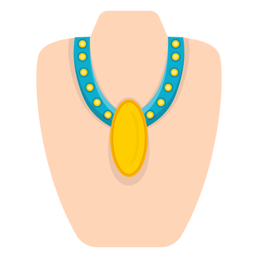 Yellow pendant thick necklace vector Transparent PNG