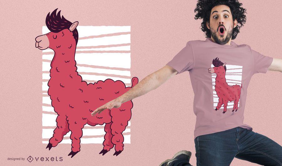 Diseño de camiseta rosa llama