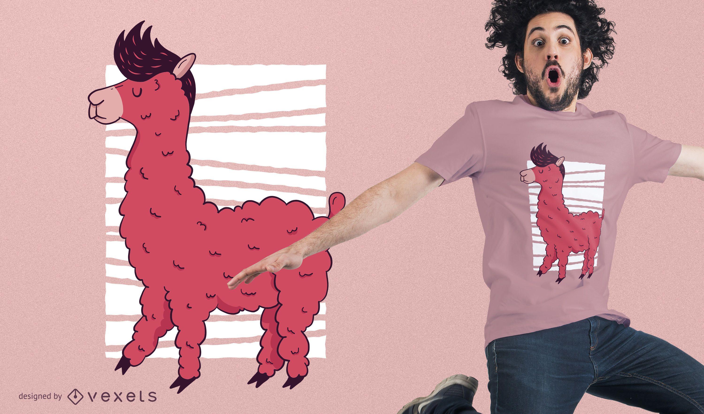 Diseño de camiseta de llama rosa