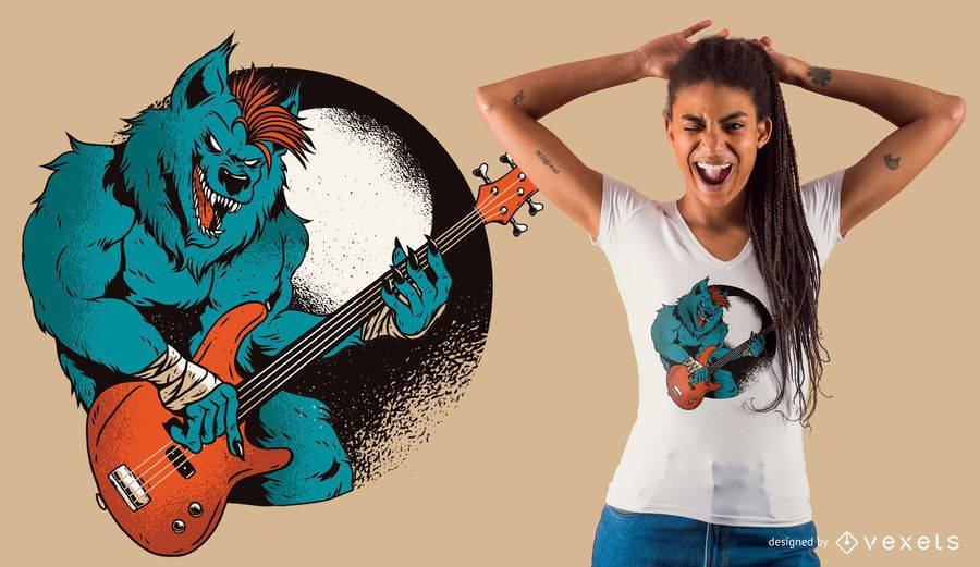 Diseño de camiseta de guitarrista hombre lobo