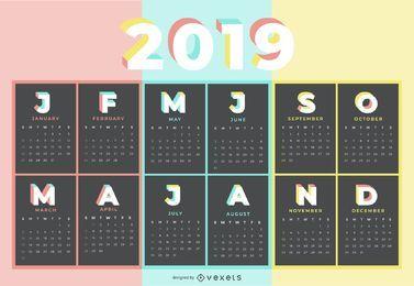 Pastellfarben-Kalender-Entwurf 2019