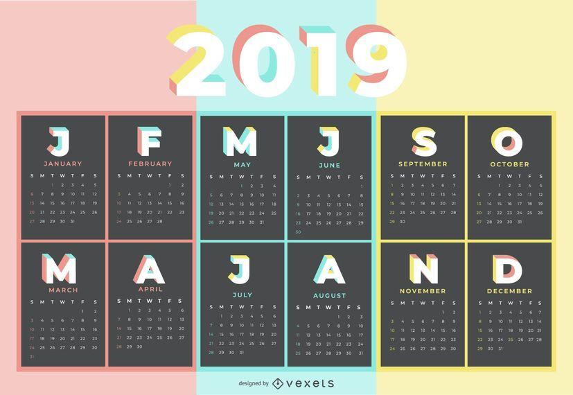 Design de calendário de cor pastel 2019