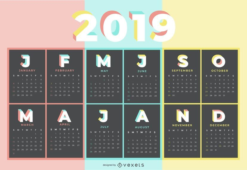 Diseño de calendario de color pastel 2019