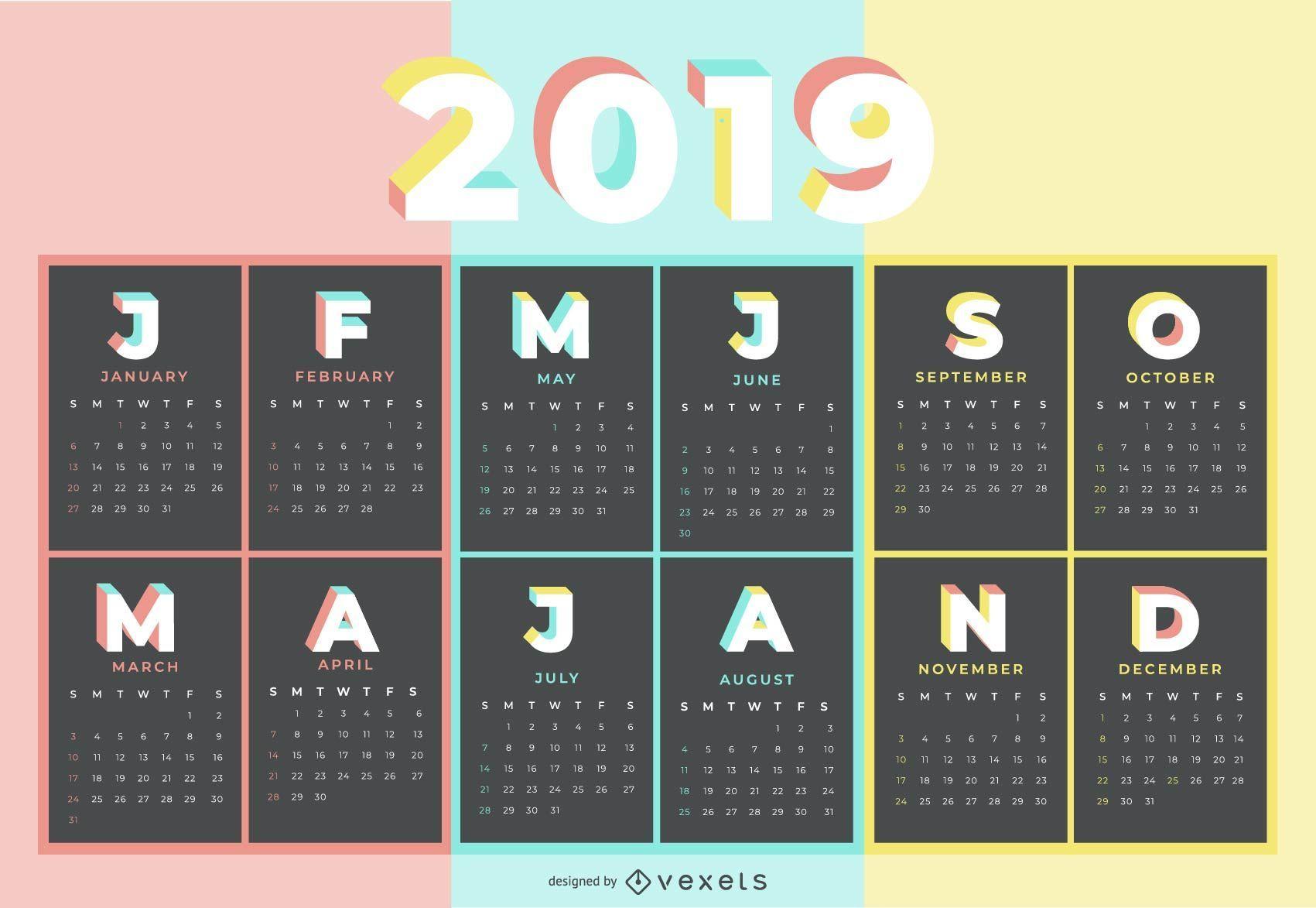 Diseño de calendario de color pastel 2019