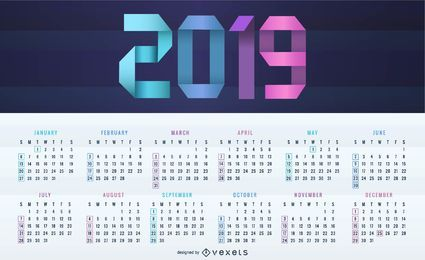 Digital 2019 Calendar Design