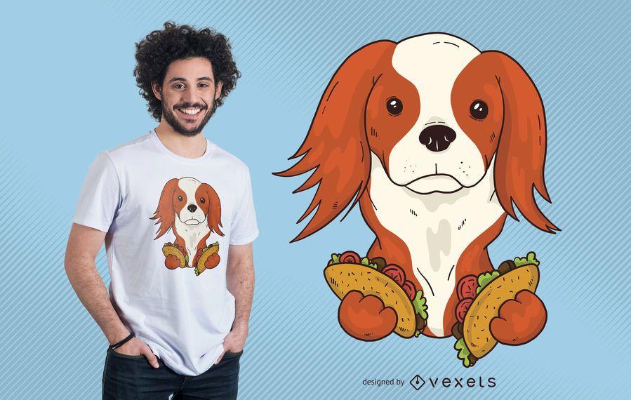Diseño de camiseta taco cachorro