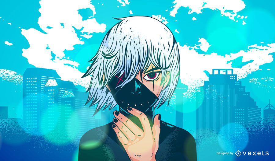 Ilustração de personagem de anime escuro