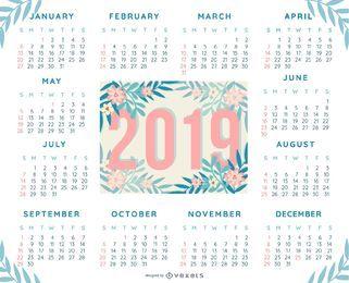 Diseño de calendario tropical 2019