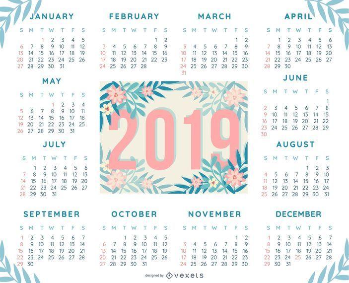 tropical 2019 calendar design