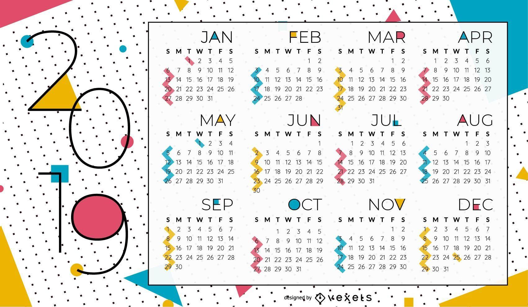 Abstract Geometric 2019 Calendar Design