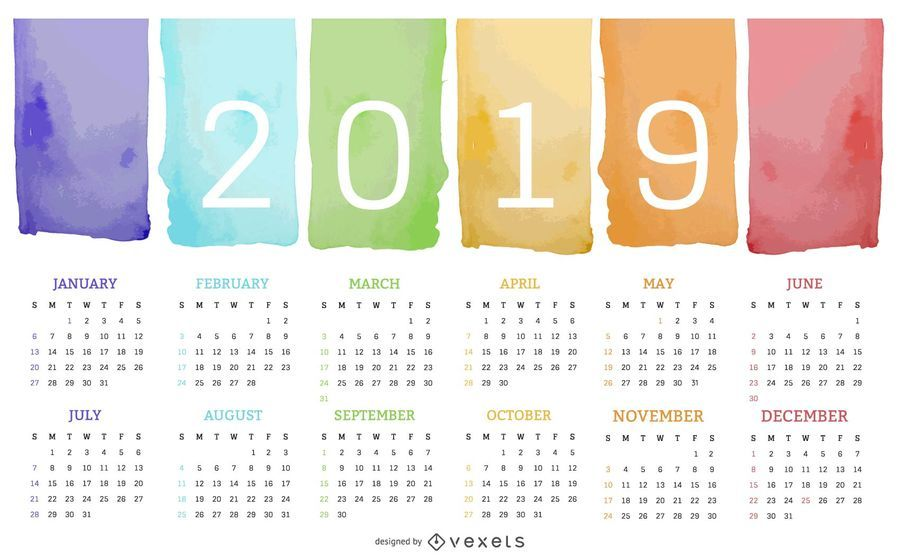 Projeto do calendário da aguarela pintura 2019