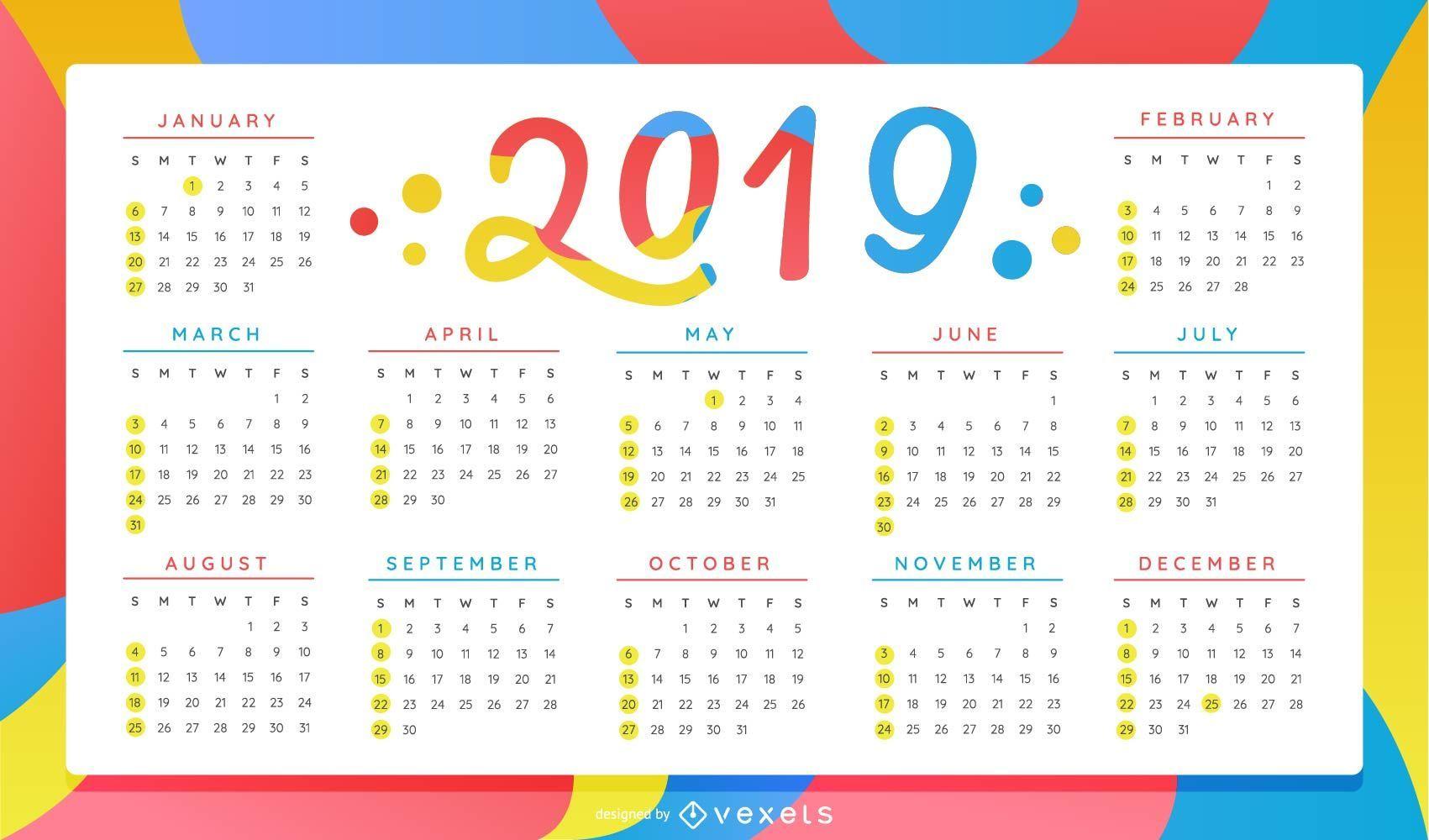 Diseño colorido del calendario del año 2019