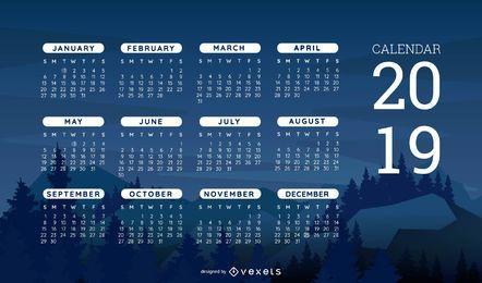 Design de calendário com tema da natureza