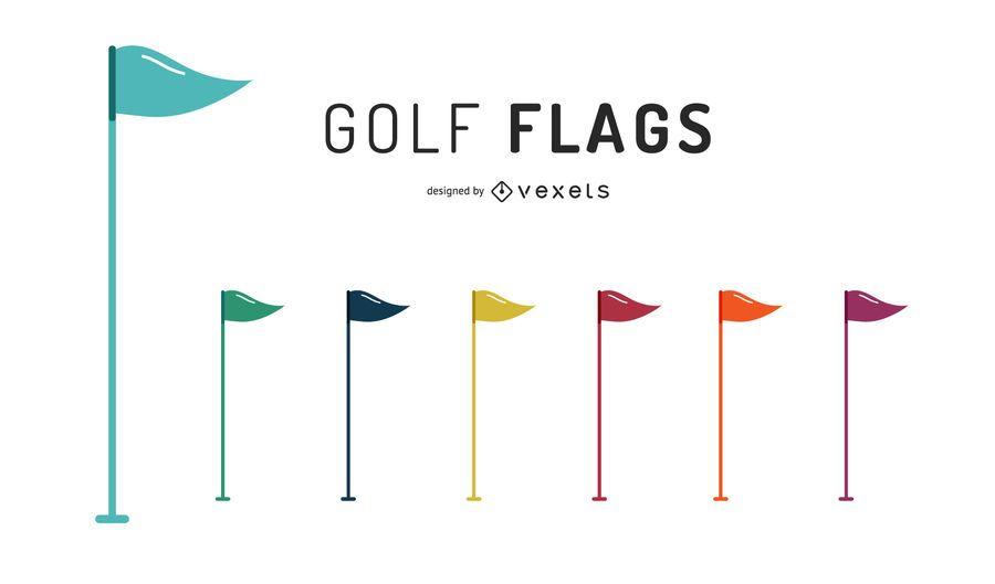 Conjunto de ilustración de banderas de golf