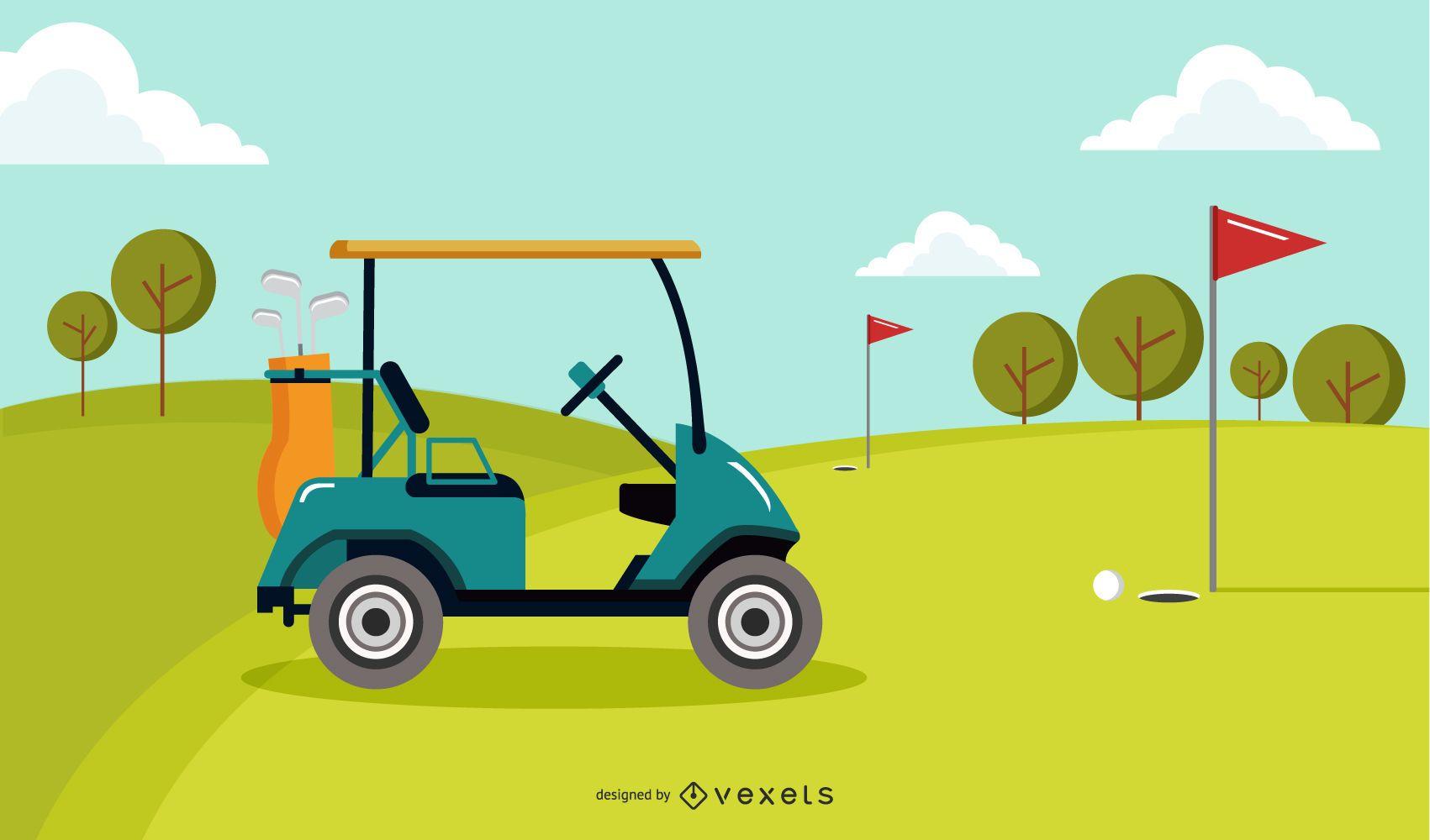 Green Golf Course Illustration