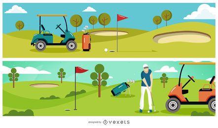 Banner de ilustração de clube de golfe