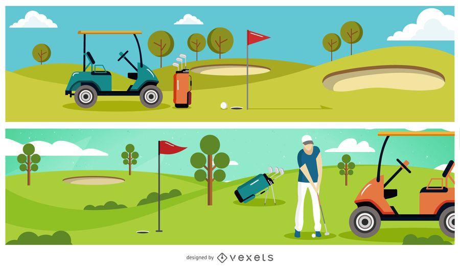 Golf Club Illustration Banner