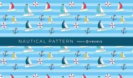 Seamless Nautical Boat Pattern