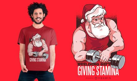 Santa at the Gym T-Shirt Design