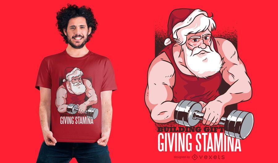 Santa en el diseño de la camiseta del gimnasio