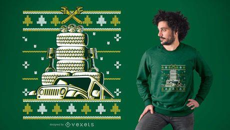 Projeto do t-shirt da árvore do carro do Natal