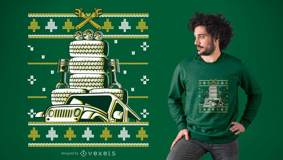 Christmas Car Tree T-Shirt Design